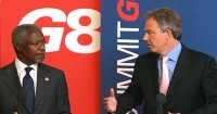 صورة عنان : بلير كان باستطاعته ايقاف بوش عن احتلال العراق