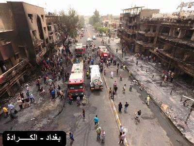 صورة ارتفاع عدد ضحايا التفجير الانتحاري في الكرادة