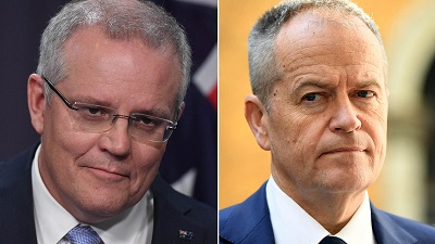 صورة سكوت مورسن وبيل شورتن  يتنافسان على تشكيل الحكومة الاسترالية القادمة ؟