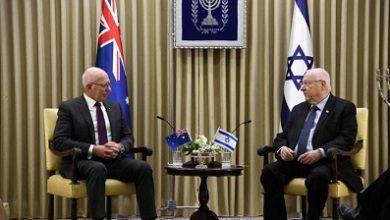 صورة الرئيس (الإسرائيلي)  يلتقي سكوت مورسن في كانبرا