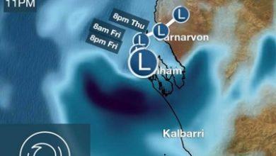 صورة أعصار يضرب الساحل الغربي لولاية غرب أستراليا