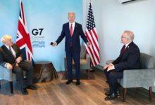 صورة مورسن يلتقي الرئيس الامريكي ورئيس الوزراء البريطاني في بريطانيا