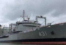 صورة غرق سفينة تابعة للبحرية الإيرانية في خليج عمان