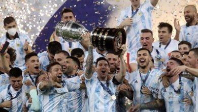 صورة الارجنتين بقيادة ميسي تفوز بلقب كوبا أمريكا 2021 على حساب البرازيل
